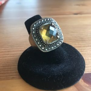 Synthetic Citrine & Marcasite Fashion Ring